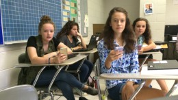 Leesville students challenge each other to a game of Kahoot. Kahoot is a popular learning tool in classrooms around the country.