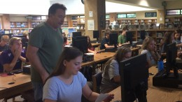 Mr. Miller's English II students complete an assignment in the media center. The English II students work hard throughout the semester, so they are prepared for the EOC.
