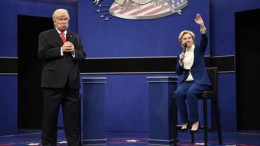 Alec Baldwin and Hillary Clinton impersonate Donald Trump and Hillary Clinton on Saturday Night Live. Saturday Night Live is one of the many late night T.V. shows that have been spoofing the presidential election. Photo courtesy of ap.org