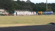 The Leesville Road boys soccer team standing for the National Anthem prior to the Millbrook game. The National Anthem is played prior to almost all sporting events. (Photo courtesy Emma Sheppard)