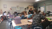 """Students finish their class period with a game, involving Quizlet and Matching Cards. They are all part of class called """"Health Team Relations"""" -- a new class taught by Mrs. Ennis."""