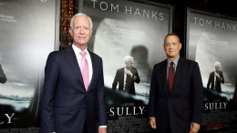 "Tom Hanks and the real Chesley ""Sully"" Sullenberger pictured at the Sully premier night. Tom Hanks played Captain Sully in the film based on the true story of the Miracle On The Hudson released in theatres Friday, September 9."