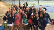The Leesville girls tennis team is celebrating their victory after defeating Sanderson and winning a share of the CAP-8 title. It is the team's first ever conference title in program history. (Photo used by permission of Casey Bombien)