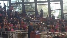 In this picture, Donald Trump speaks to a crowd at the Dorton Arena in Raleigh. In his speech, Trump talked about some of his main campaign points including building a wall along the US-Mexico border, bringing jobs back to the United States and ending establishment politics in Washington, D.C.  (Photo Courtesy of Michael Beauregard)