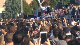 President Obama speaks to a crowd outside of Carmichael Arena at the University of North Carolina in Chapel Hill. In his speech, the president urged people to vote in this election, saying that the fate of the country depended on it. (Photo Courtesy of Michael Beauregard)