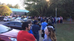 Early voters line up outside Lake Lynn Community center to cast their vote. (Photo used by permission of John Balla. )