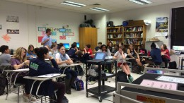 Pictured above is an English I class discussing their current book, Fahrenheit 451. English I is just one of the many courses required to take a North Carolina Final Exam this year. (Photo courtesy of Erin Darnell)