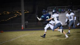 Leesville's Matt Hamilton sprints down the field to catch a pass from Vince Amendola. Hamilton helped push the Pride towards a win Friday night. (Photo used by permission of Emma Sheppard)