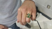 Many seniors who ordered their class rings, went to the main lobby to pick them up. Collin Dail tried his ring on after picking it up. (Photo courtesy of Hannah Comeskey)