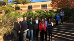 Teacher Angela Scioli (third from right) posing with the guest speakers after her fourth period class. The speakers and their jobs are as listed (left to right): Fleda Anderson (NC Department of Labor); Laura Bunte (Environmental Protection Agency); Dustin Ingalls (Campaign Manager); a former student of Mrs. Scioli; Bonner Gaylord (Raleigh City Council member); Angela Scioli; Brian Scioli (Raleigh Police Officer); Amily McCool (Interest Group Lobbyist). (Photo courtesy of Erin Darnell.)