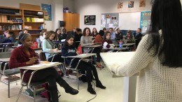 Amrita Dey, AP English III student, gave her speech and presentation on Friday, December 16. She spoke to her classmates about her interpretation and research on religion.
