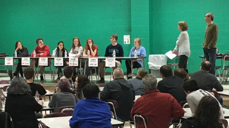 The college student panel was organized the PTSA. Former Leesville students from University of South Carolina, UNC Wilmington, NC State, UNC Charlotte, and UNC Chapel Hill discussed topics such as summer classes in college.