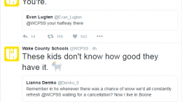 The WCPSS Twitter account engages in banter with students asking for the day off in the face of impending winter weather. It's a yearly tradition in Wake County. Photo Courtesy of Twitter