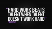 Hard work is an essential aspect in a person's personality. Recent studies have shown that hard work is more effective than being talented when it comes to school, work, sports, and other hobbies.
