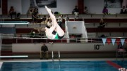 Elizabeth Gamble nails a Forward 1 ½ Pike en route to her podium finish. One of the more advanced dives, this trick requires perfect timing to avoid flopping. Used by permission of Lori Campoli Photography.