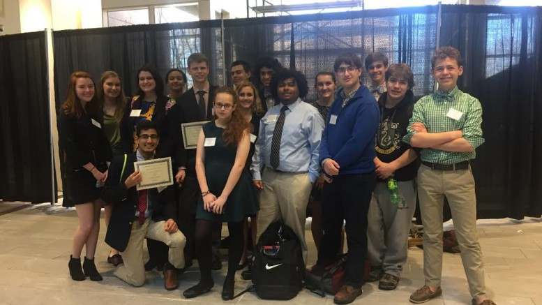 Leesville's Model U.N. club poses for a picture after the Duke Model U.N. Conference. Several students were recognized or given awards at the end of the conference.