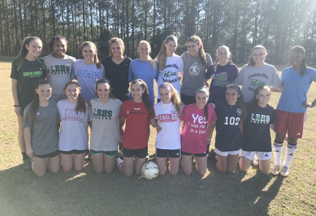 Players get together after being selected to the 2017 Leesville girls soccer team. This season's team consists of three freshmen, eight sophomores, seven juniors, and four seniors, most of whom have experience playing at the varsity level.  (Photo used by permission of Rachel Golden)