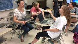 Ashlyn Walton and Grace Newton, sophomores and students in Amy Wedge's Speech I class practice the debate skills that they learned. Soon, they will have the ability to go in depth in the history of debate and hone their debating skills in the Argument and Theory class. (Photo courtesy of Erin Darnell)