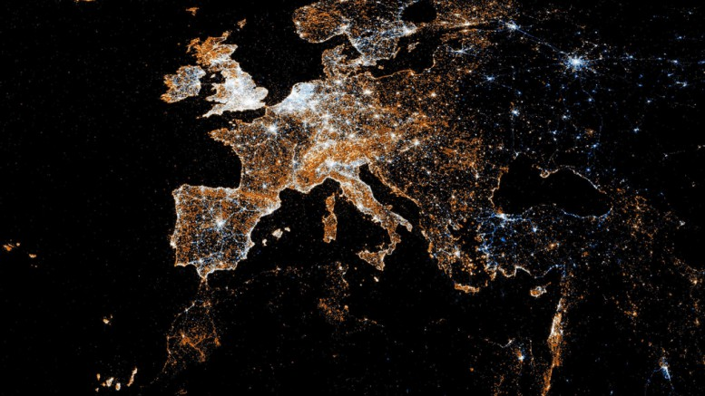 An aerial view of the lights of Europe at night. The density of the lighting in many parts of Western Europe also correspond with their involvement in the troubled European Union. Photo courtesy of Public Domain