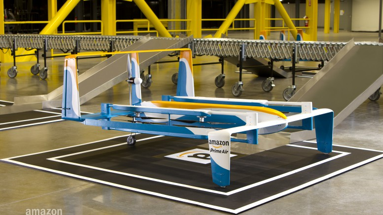 Above is a photo of Amazon's new prototype drone. The flagship program, Amazon Prime Air, has recently earned a patent for drone delivery.