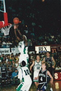 Anthony Richardson goes up for a rebound against Broughton at Reynolds Coliseum. Leesville won the game 80-66. (Photo used by permission of Shawan Robinson)