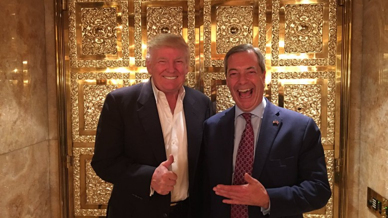 "Nigel Farage, Brexit Advocate, and Donald Trump pose at Trump Tower shortly after Election Night. Trump once referred to himself as ""Mr. BREXIT!"" to show his support for the Leave campaign. Photo Credit to Nigel Farage on Twitter."