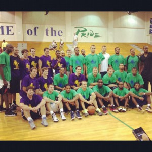 In 2012, former Leesville and Broughton players celebrate after playing in a reunion game to commemorate the game between Leesville and Broughton at Reynolds Coliseum. The game helped raise money for the Richard J. Murphy Scholarship fund, in honor of former Leesville principal Richard Murphy who passed away in 2011. (Photo used by permission of Shawan Robinson)