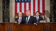 President Donald Trump gave his first address to congress on Tuesday, February 28. Mike Pence, the Vice President, and Paul Ryan, the speaker of the house, sit directly behind Trump during his speech. (Photo Labelled for Fair Use)