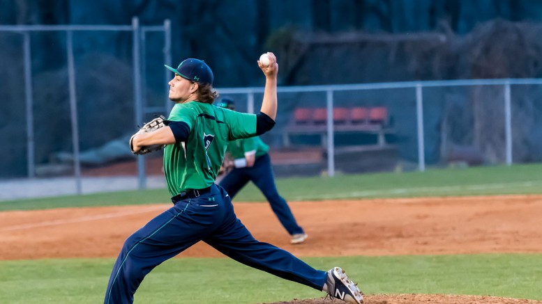 Noah Latta on the mound against Wake Forest Friday night. Latta threw a complete game allowing only two runs and striking out eight batters. (Photo Used By Permission of Bob Stewart)