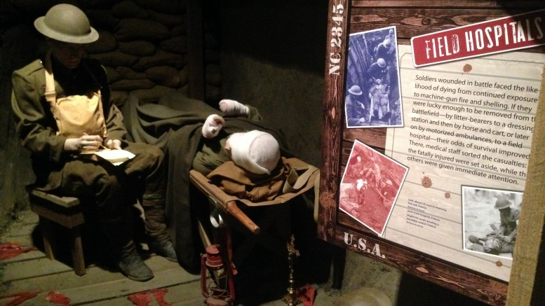 On April 8, 2017, the North Carolina Museum of History will be opening an exhibit that will give visitors an in depth look at the First World War. Shown here is a recreation of a field hospital that would've been commonplace in the trenches of the Western Front. (Photo courtesy of Michael Beauregard)