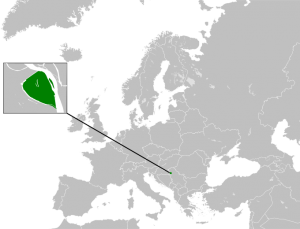 The Free Republic of Liberland is located on a disputed island between the Balkan states of Serbia and Croatia. (Map courtesy of Wikipedia user Elevatorrailfan)