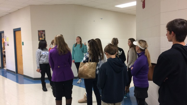 Leesville Liaisons give tours to eighth graders, future freshman nervous and excited for high school. If freshmen ever have any questions or concerns they should ask a Liaison, teacher or their counselor. (Photo courtesy of Erin Darnell)