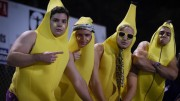 Wipperman and his friends dressed up as bananas at many Leesville events. Here, pictured left to right, are Kendall York, Timmy Wipperman, Brock Johnston, and Matt Papanestor. (Photo Used by Permission of Emma Sheppard)