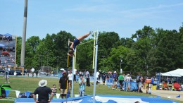 Pictured above is an action shot of Elise Hall pole vaulting in the NCHSAA State meet. Her jump landed her on the podium, taking third place. (Photo used by permission of Elise Hall)