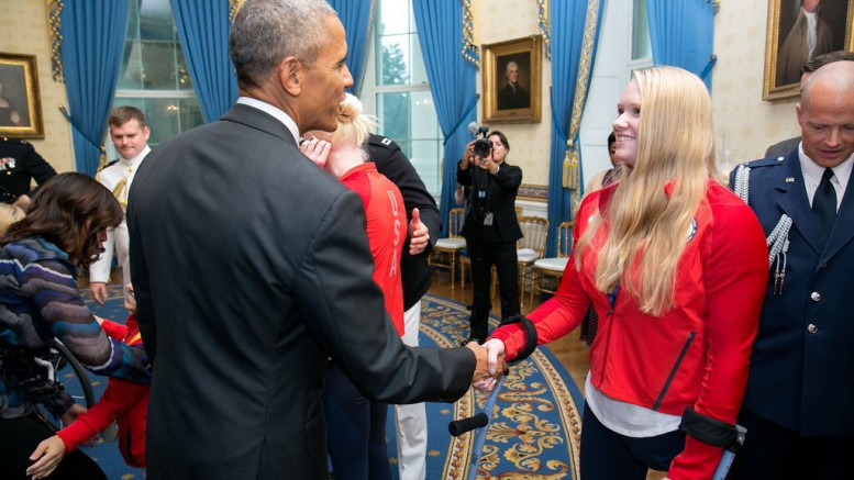 Since her Paralympic debut, Hannah Aspden has come across many impressive opportunities. On November 3 2016, Hannah and her Paralympic teammates met the President, Vice President and first Lady of the United States. (Photo used by permission of Hannah Aspden)