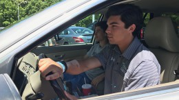 "Ordinary civilians, such as Tyler Stocum, a junior at Leesville, can download the Uber Driver app and become their own ""licensed"" taxi driver. They can then pick and choose which routes to provide service to, as well as the riders that they transport. (Photo courtesy of Ray Youman)"