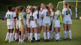 Rachel Golden speaks to the her Leesville teammates during halftime. The Pride controlled the possession and scoring opportunities, during the second half. (Used by permission of Danielle Pardo)