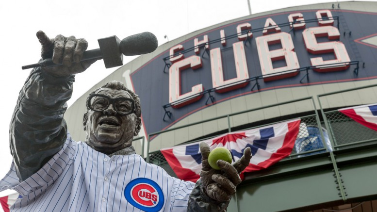 The Cubs wanted to build a statue to commemorate the life of Harry Caray their famous broadcaster. Caray died in 1998 just before the beginning of the baseball season.