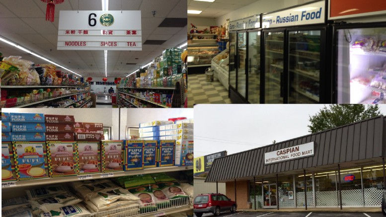 Wake County is home to a large presence of immigrants from all over the world. Because of this, the region is ripe with places to buy foods from different countries across the globe. Pictured above is the (going clockwise from the top left) the Grand Asia Market, the Tala Euro-Russian Mart, the Caspian International Food Mart, and the Carolina International Market. (Photos courtesy of Michael Beauregard and Ron W. of Yelp)
