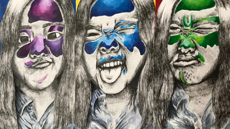 """Pictured above, an original piece titled """"Self Portraits"""" composed of pen & ink, watercolor, and poster color. Song created this piece as a project for an art class at Leesville. (Photo used by permission of Mary Song)"""