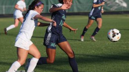 Jordin Mosley, junior, goes after a ball as the Green Hope defender comes behind her to pressure her. The Pride had another highly successful season, finishing as one of the top teams in the state. (Photo Credit to Johnny Johnson/The News & Observer)