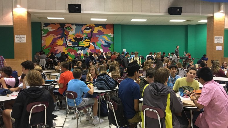 You can find the majority of the underclassmen eating their lunch or socializing with friends in the cafeteria. Students have the opportunity to eat in many areas around the school such as the courtyard, multipurpose room, or teachers' classrooms. (photo courtesy of Lucy Leen)