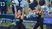 Seniors Sara Atkinson (left) and Rachel Noser (right) cheer on the Pride at the first football game of the 2017-2018 season. (Photo used by permission of Liz Lemons)