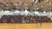 The Leesville freshman gathered in the gym for the start of the Pride Launch festivities.  Taylor Hill, senior and Leesville Executive Council President, and Ms. Rizzuto, the Leesville staff member in charge of Pride Launch, spoke to the students and their parents about life at Leesville.  (Photo used by permission of Dawn D'Bella)