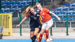 Katie Groff (left) plays starting center back in the US vs Switzerland game in Belgium.  Groff is one of the select few chosen to be a part of the US national team.  (photo courtesy of US Soccer)