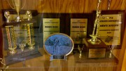 One of the many trophy cases at Leesville Road High School portraying the achievements of the students throughout the years. The majority of the trophies shown is state championship, or conference championship awards. (Photo Courtesy of Chelsea Dinkenor)