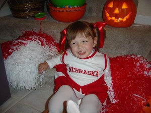 A baby picture of Erin Darnell, junior at Leesville, wearing a Nebraska cheerleading outfit. (Photo courtesy by permission of Erin Darnell)