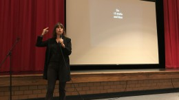 Emily Lockhart, New York Times bestselling author, presents her workshop titled 'Techniques for Storytelling and Tapping into Your Creativity'. Specifically designed for students, her workshop provided tips for students when creating art. (Photo courtesy of Erin Darnell)
