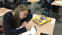 Rianna Gillies, a freshman at Leesville, works on a worksheet in health class. Health and Physical Education is a class that all students must take to graduate, but freshmen are often the only ones enrolled. (Photo courtesy of Natalie Gore)