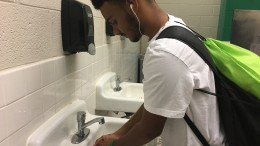 Victor Lockhart, a sophomore at Leesville, washing his hands. The influenza seasons starts next month. (Photo courtesy of Matt Wiener)